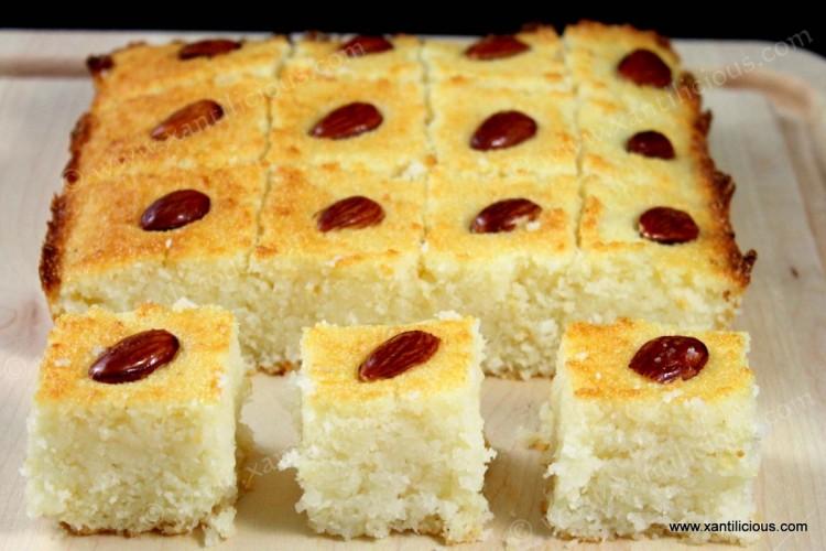 Basbousa (Eggless Arabic Cake)