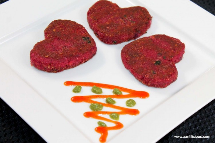 Beetroot Heart Shaped Cutlets
