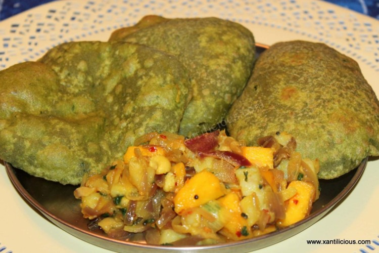 Mango, Nuts & Potato Bhaji with Spinach Puris