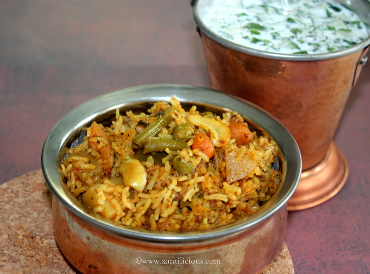 Veg biryani xantilicious biryani is rice mixed with meat or vegetables cooked as one meal this is a veg biryani recipe that has vegetables marinated in curd and spices and then forumfinder Images